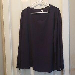 INC +bell sleeve navy blue blouse sz 1X